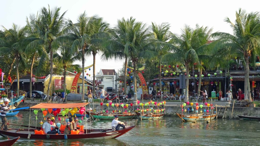 River boats during Tet new year in Hoi An, Vietnam