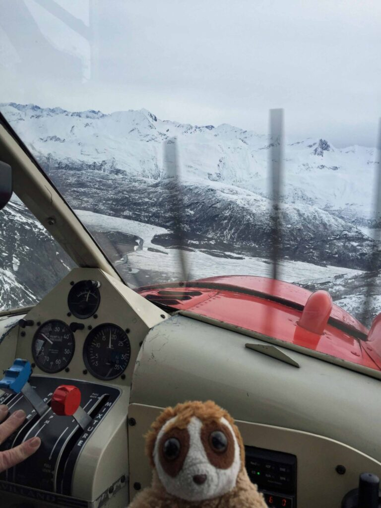 Cepat in plane cockpit flying over Knit Glacier
